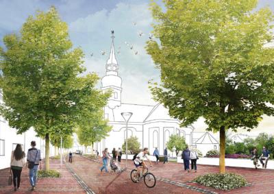 Das ist der Vorschlag vom Planungsbüro Felixx zur Umgestaltung des Platzes an der Evangelischen Kirche .Visualisierung Felixx