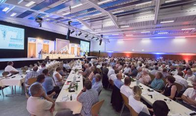 Die Vertreterversammlung der Volksbank an der Niers fand in der bofrost*Halle in Straelen statt. Foto: Marc Albers